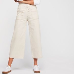 NWT Free People Wide Crop Jean Ivory Ecru